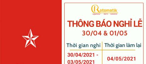 Thông Báo Lịch Nghỉ Lễ 30/04 & 01/05 năm 2021